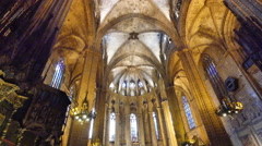 Spain Barcelona Cathedral Gothic interior view Stock Footage