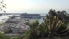 Spain Barcelona cruise ship docked Stock Footage