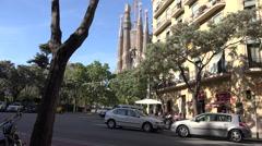 Spain Barcelona Sagrada Familia and apartments Stock Footage