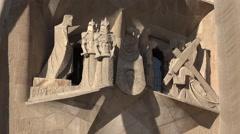 Spain Barcelona Sagrada Familia carving of Christ trial Stock Footage