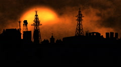 Polluted sky sunset over city Stock Footage