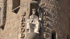 Spain Barcelona Sagrada Familia figure of the Apostle Saint Jacob Stock Footage