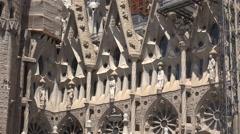 Spain Barcelona Sagrada Familia five carved saints Stock Footage