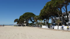 Spain Cambrils view of beach and path Stock Footage