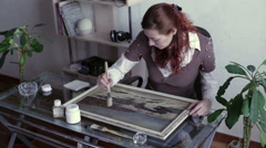 Woman covered with lacquer painting Stock Footage