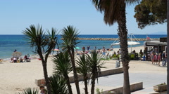 Spain Cambrils view toward beach Stock Footage