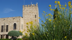 Spain Tortosa Castle and yellow flowers Stock Footage