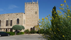 Spain Tortosa Castle tower and Spanish broom Stock Footage