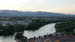 Spain Tortosa Ebro River after sunset Stock Footage