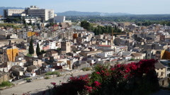 Spain View of Tortosa city from Parador balcony Stock Footage