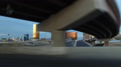 Las Vegas Skyline steady-cam shot from interstate 15 Stock Footage