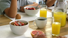 Healthy breakfast with coffee and orangejuice Stock Footage
