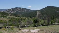 Spain Sierra de Gudar hills and stone wall Stock Footage