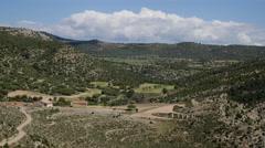 Spain Sierra de Gudar landscape with cloud over hills Stock Footage