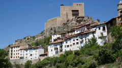 Spain Alcala de la Selva castle above village Stock Footage