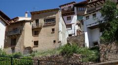 Spain Alcala de la Selva houses on cliff Stock Footage