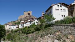 Spain Alcala de la Selva town on cliff Stock Footage