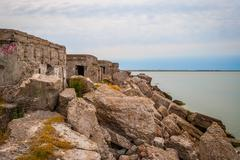 Abandoned remains of Northern forts of USSR - stock photo