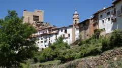 Spain Alcala de la Selva view with church and castle Stock Footage