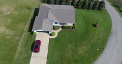 Aerial Angle View Homeowner Mowing Lawn  	 - stock footage