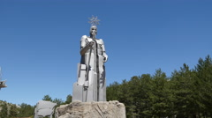 Spain statue at source of the Tajo Stock Footage