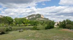 Spain Serrania de Cuenca landscape with mountain above Una Stock Footage