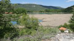 Spain Serrania de Cuenca Una lagoon with house Stock Footage