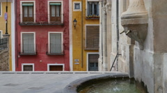 Spain Cuenca fountain and buildings Stock Footage