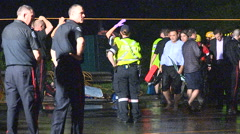 People rescued from stranded commuter train in Toronto flood after thunder storm Stock Footage