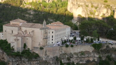 Spain Cuenca parador in late evening with party Stock Footage