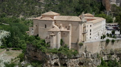 Spain Cuenca parador on cliff in valley Stock Footage