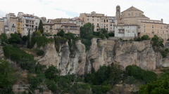 Spain Cuenca view of city on cliff Stock Footage