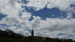 Spain Alto Tajo church and clouds time lapse Stock Footage