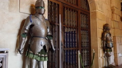 Spain Siguenza castle knights in armor - stock footage