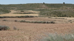 Spain Aragon plowed field and terraces Stock Footage