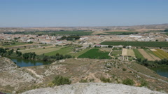 Spain Ebro River at Sastago with fields Stock Footage