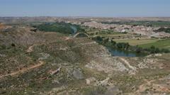Spain Ebro River looking toward Sastago Stock Footage