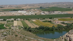 Spain Ebro River near Sastago with fields and industry Stock Footage
