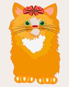 Redhead cat with bow Stock Illustration