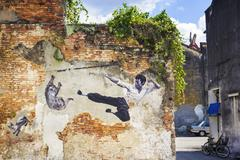 Bruce Lee Street Art Mural in Georgetown, Penang, Malaysia. - stock photo