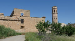 Spain Monasterio de Rueda back with tower Stock Footage