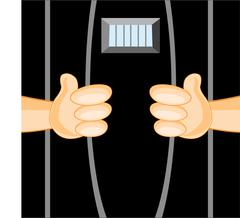 Persons in prison - stock illustration