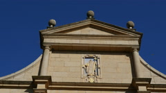 Spain Monasterio de Rueda facade with saint Stock Footage