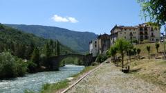 Spain Pyrenees Gerri de la Sal on the Noguera River sound Stock Footage