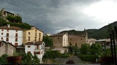 Spain Pyrenees Senterada village before storm Stock Footage
