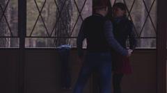 A couple dancing tango outdoor - stock footage