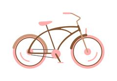 Stylish womens pink bicycle isolated on white background wheel pedal Stock Illustration