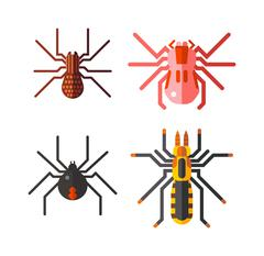 Spiders isolated vector icons set - stock illustration