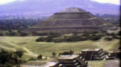 1974: Teotihuacan ancient ruins pan from atop the sacred temple. Stock Footage