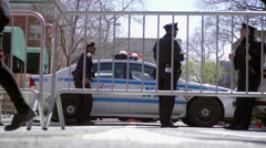 police barrier - NYPD cops and car at Washington Square in 4K video NYC - stock footage